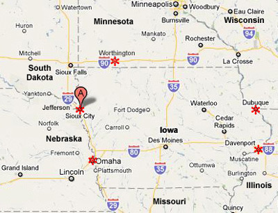 Iowa Pilot Cars Professional Certified Pilot Car Service Sioux - Cities in iowa map